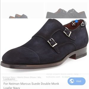 Magnanni Monk Double Strap Suede Shoes